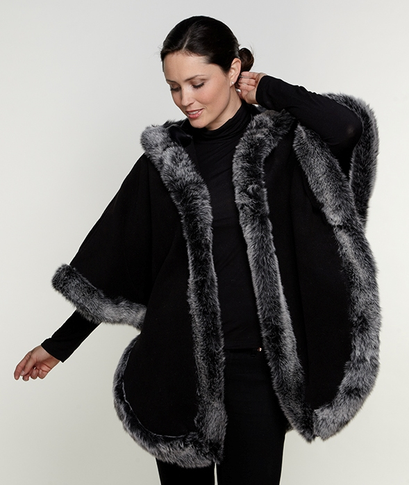 Shop our line of women's faux fur ponchos and wraps or faux fur shrugs, shawls and stoles with a variety of solid color mink options plus animal prints.